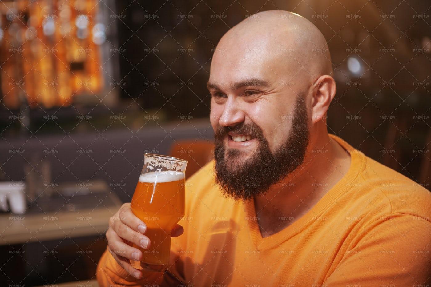 Bearded Man At The Bar: Stock Photos