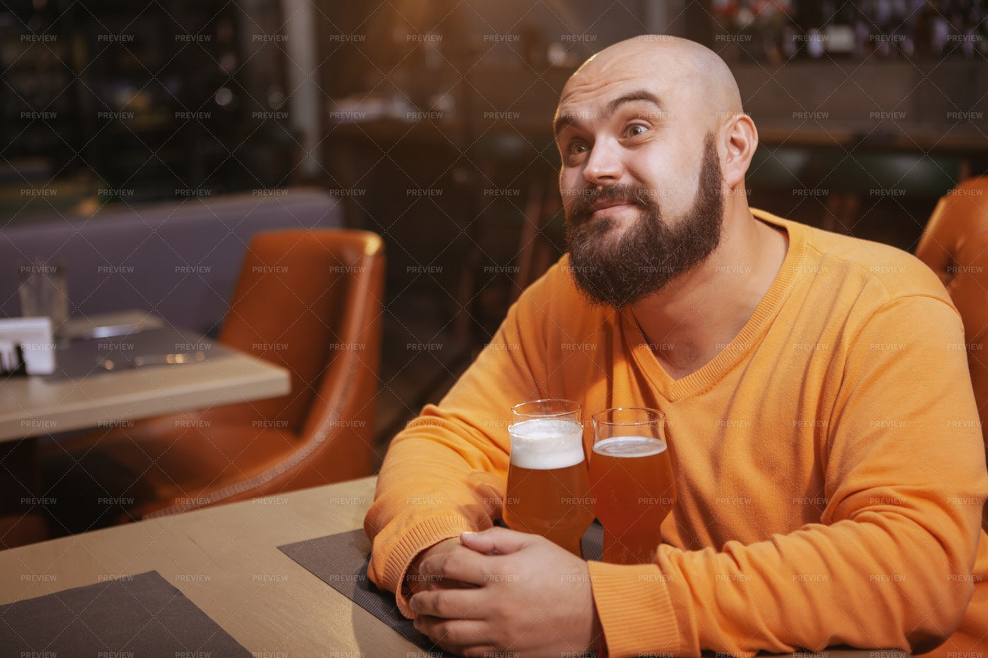 Man With Two Beers: Stock Photos