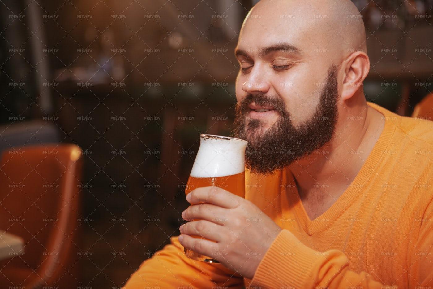 Enjoying The Beer's Aroma: Stock Photos