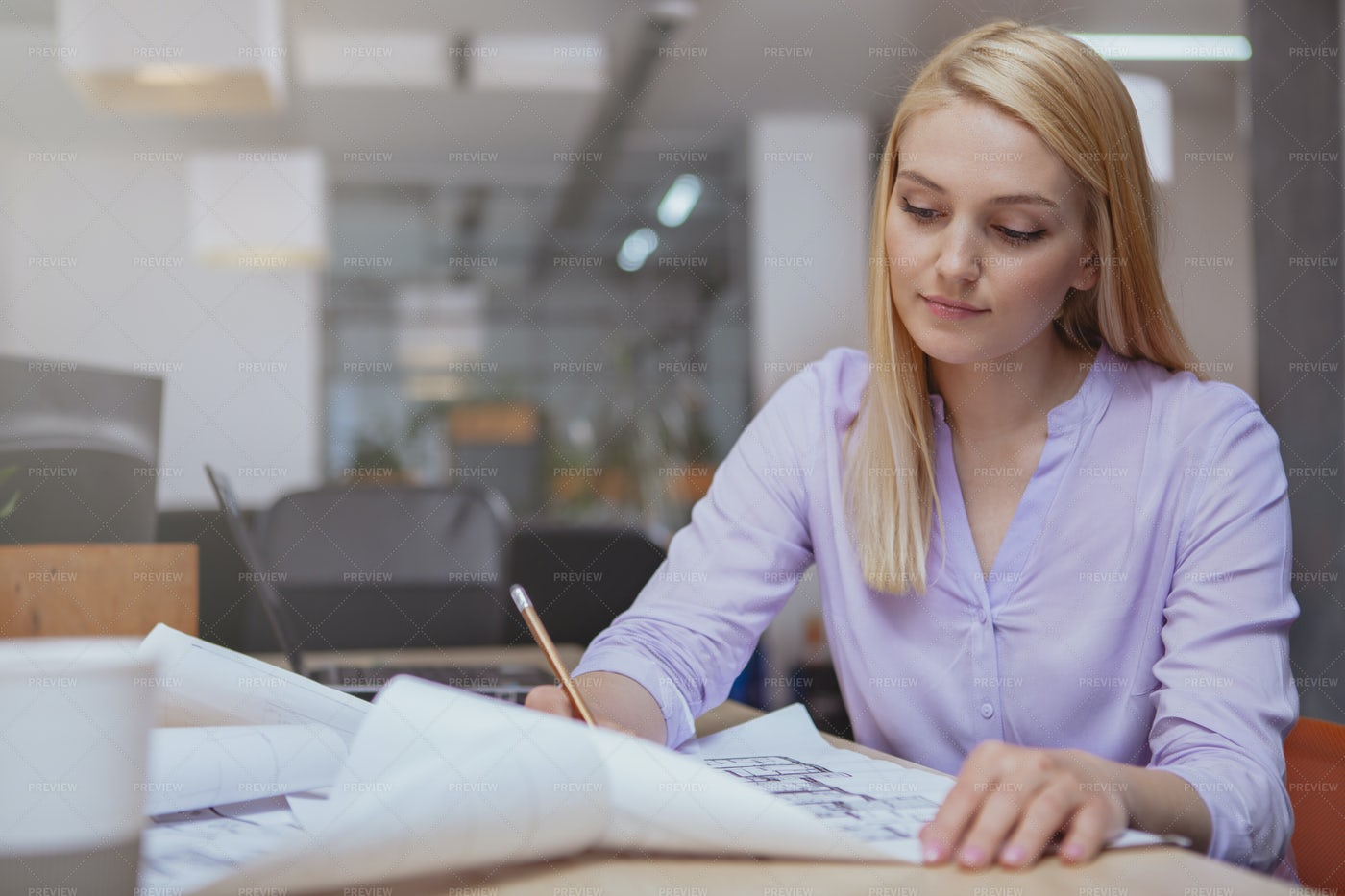 Successful Architect Working: Stock Photos