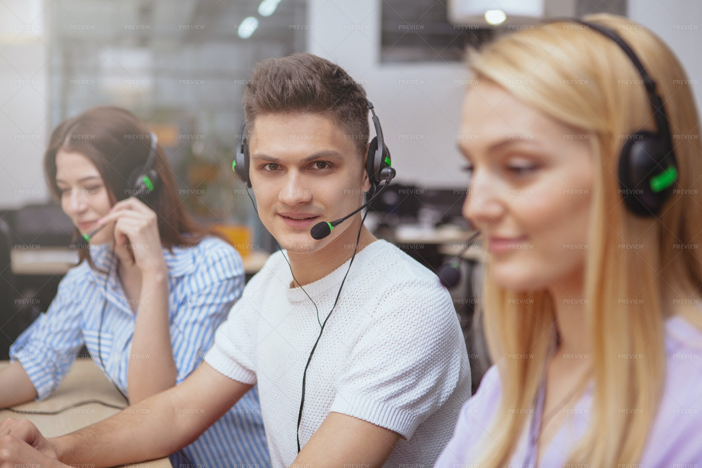 Team Of Customer Support Workers: Stock Photos