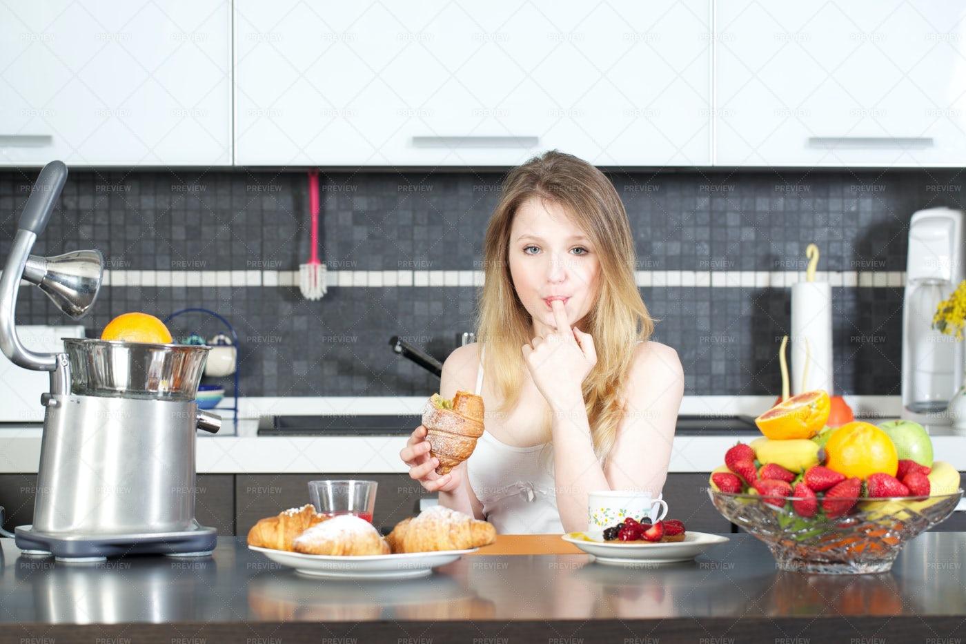 Woman Having Breakfast: Stock Photos