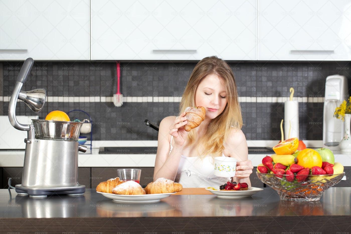 Woman Having Breakfast At Home: Stock Photos