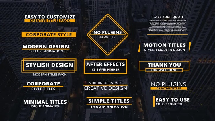 15 Corporate Titles: After Effects Templates