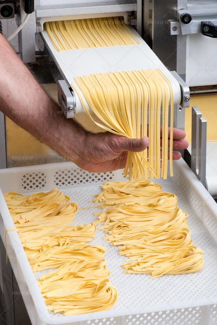 Making Fresh Tagliatelle Pasta: Stock Photos