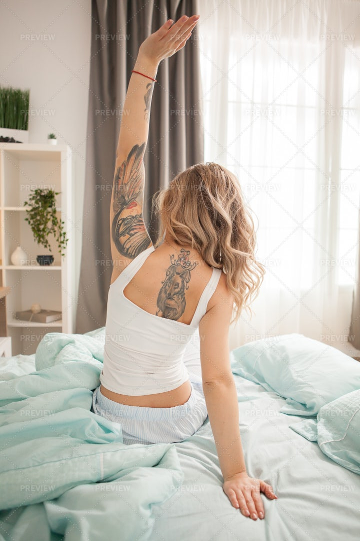 Stretching After Waking: Stock Photos