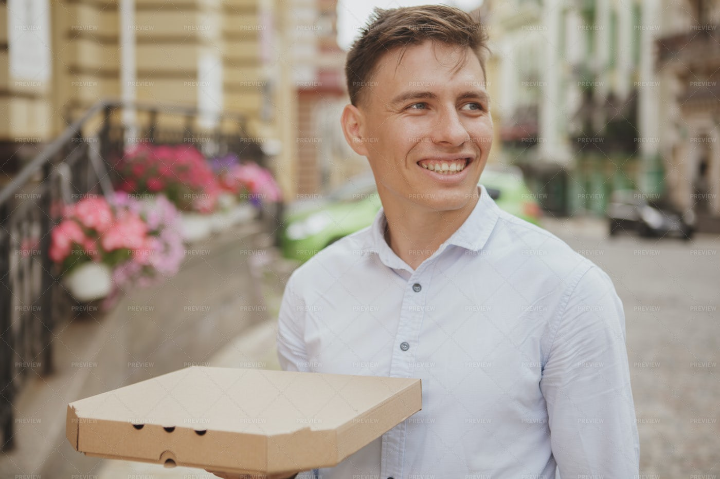 Man Has Pizza Delivered: Stock Photos