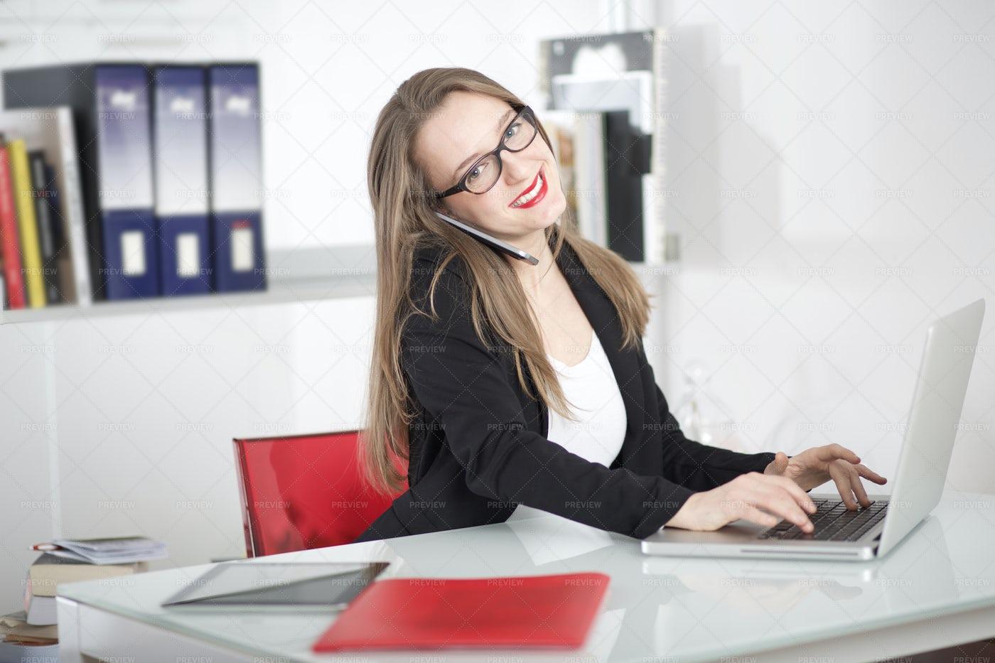 Businesswoman Doing Office Work: Stock Photos