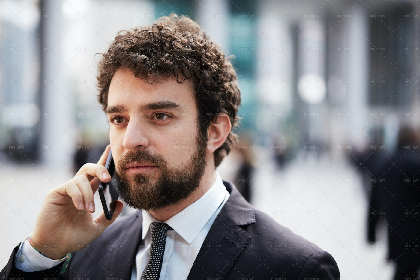 Suited Man On A Call: Stock Photos