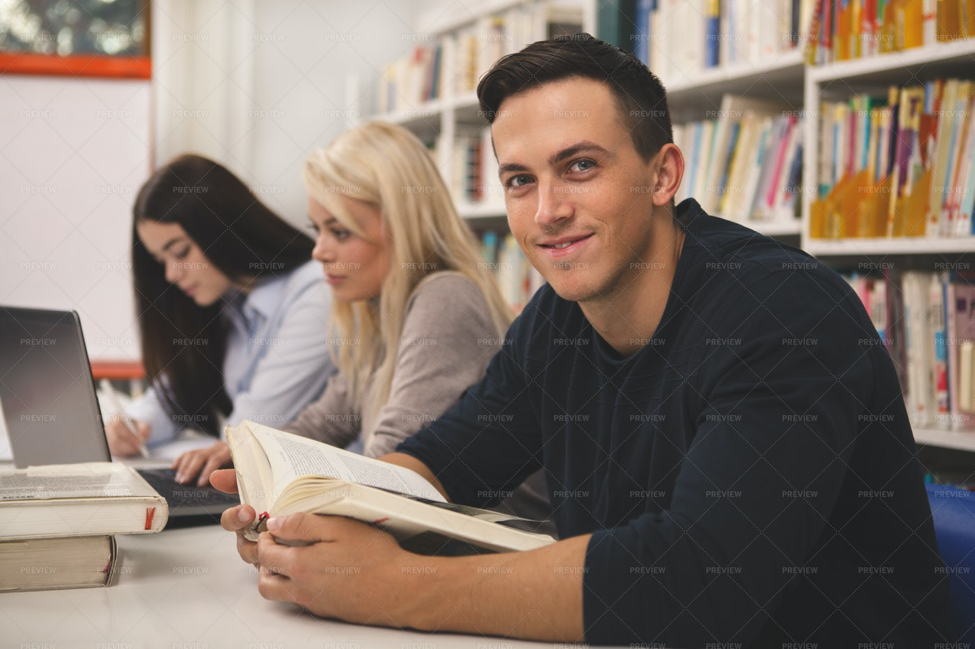 Study Group Reading Books: Stock Photos