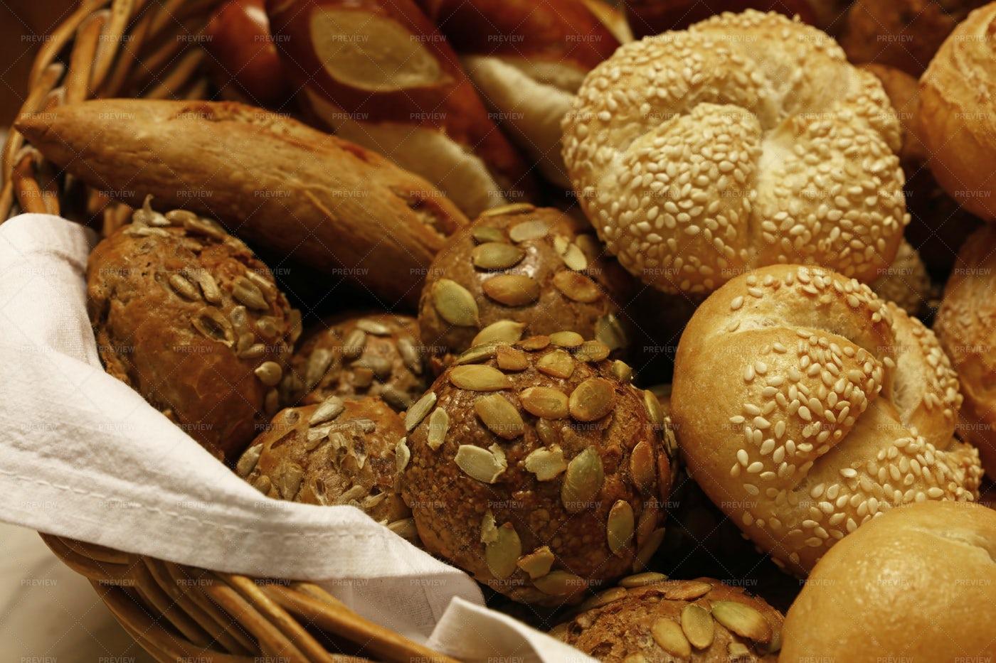 Assorted Fresh Bread Buns: Stock Photos