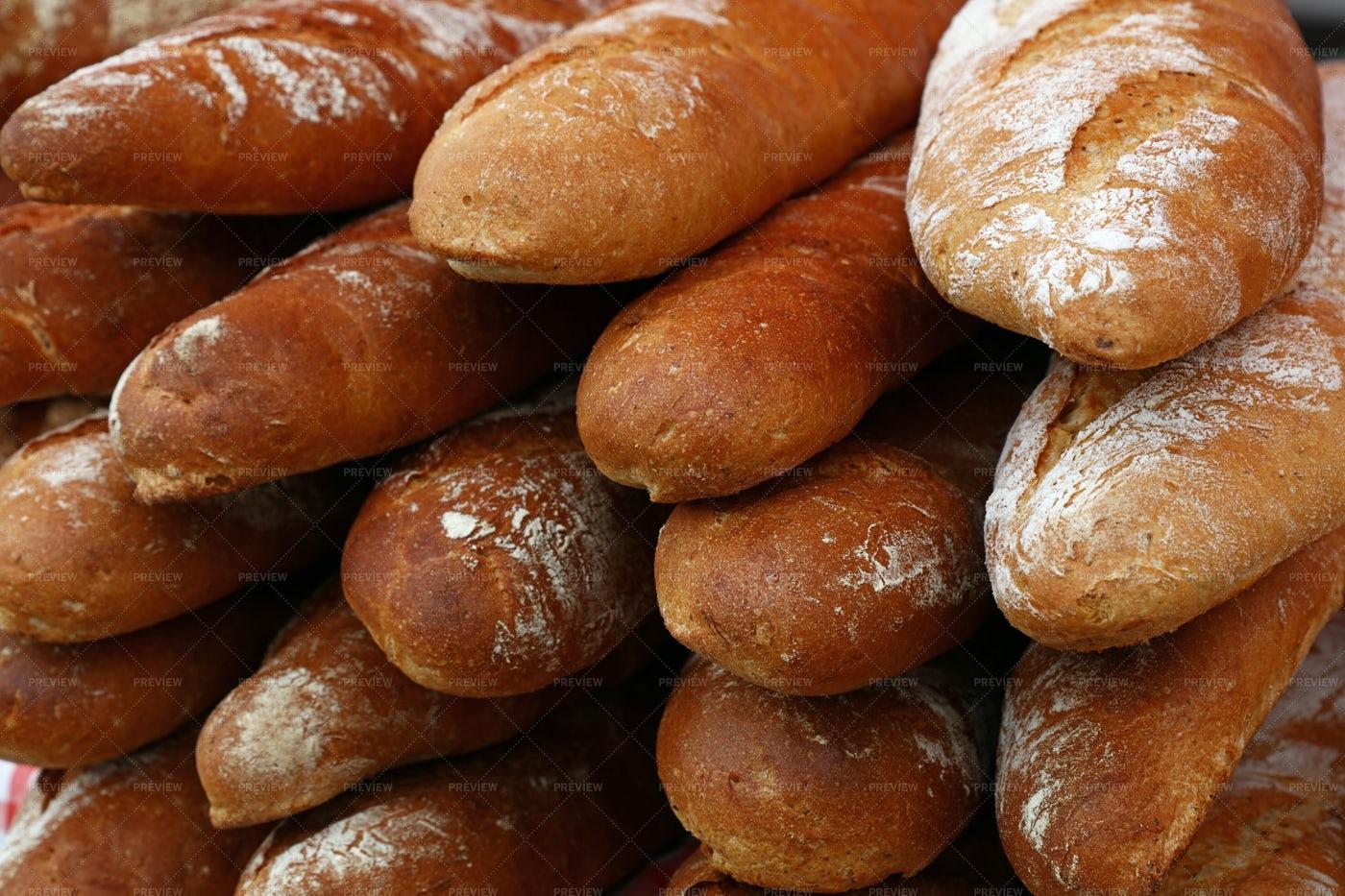 Fresh Baguette Breads: Stock Photos