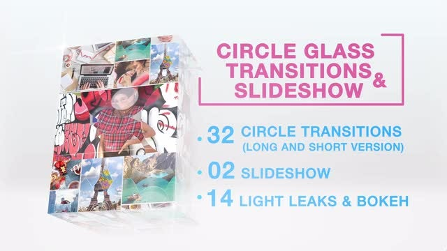 32 Circle Glass Transitions & Slideshow: Premiere Pro Templates
