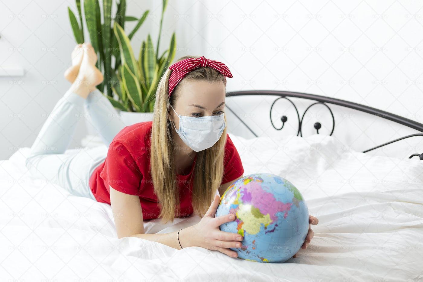 Woman Looking At A World Globe: Stock Photos