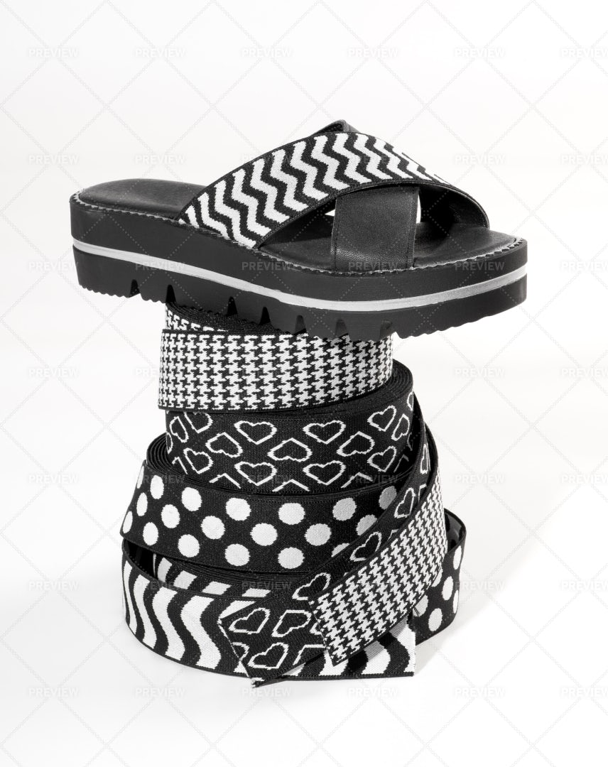 Summer Sandal With Elastic Bands: Stock Photos