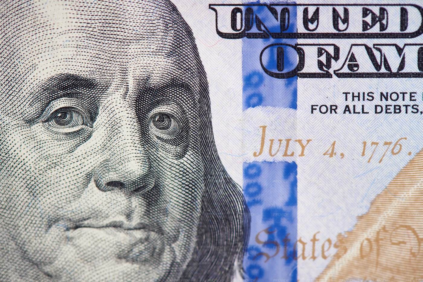 Benjamin Franklin On Cash: Stock Photos