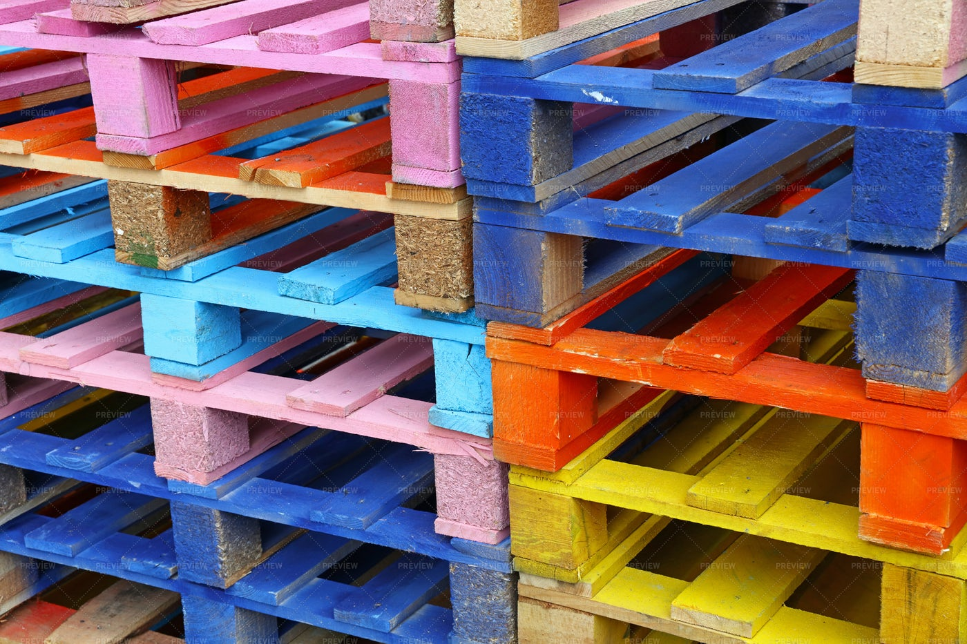 Multicolored Wooden Pallets: Stock Photos