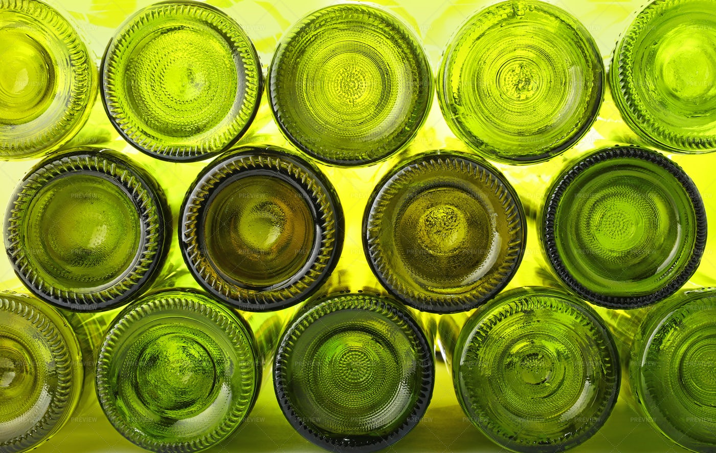Green Glass Bottles: Stock Photos