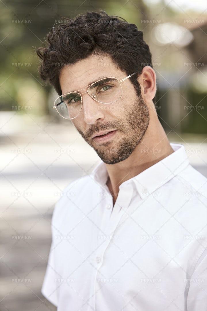 Portrait Of Glasses Guy: Stock Photos