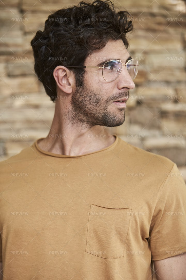 Looking Away In Glasses: Stock Photos