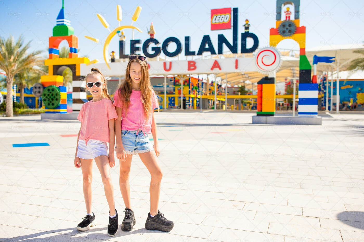 Little Girls In Legoland: Stock Photos