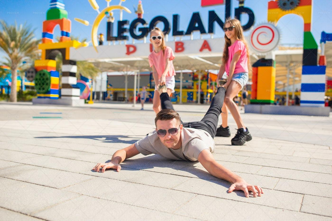 Happy Family In Dubai Legoland: Stock Photos
