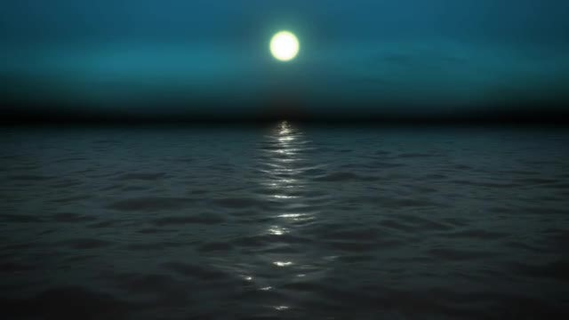 Night Sea With Moon: Stock Motion Graphics
