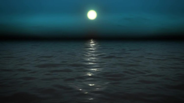 Night Sea With Moon: Motion Graphics