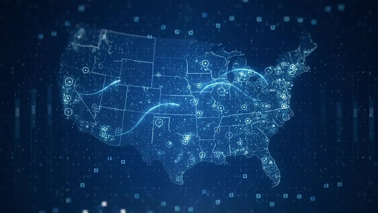 Technological USA Maps: Stock Motion Graphics