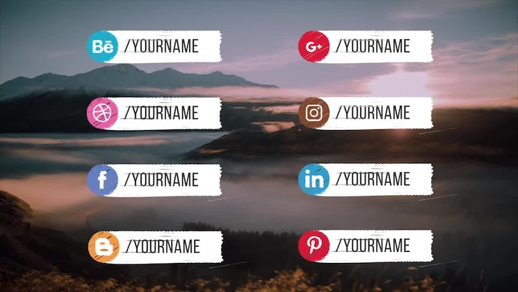 Hand Drawn 16 Social Media Lower Thirds: After Effects Templates