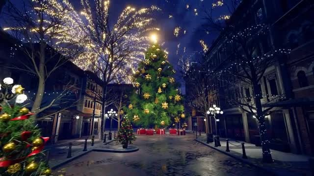 Christmas City In The Night: Stock Motion Graphics