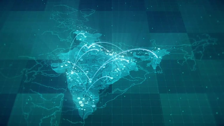 Globalization India Map: Stock Motion Graphics