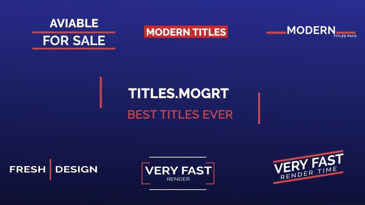 Animated Modern Titles Pack: Motion Graphics Templates