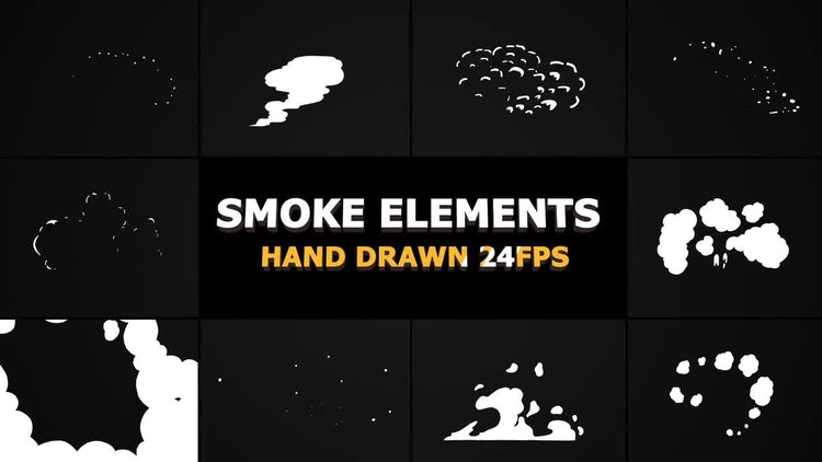Hand Drawn SMOKE Elements 24 fps: Stock Motion Graphics