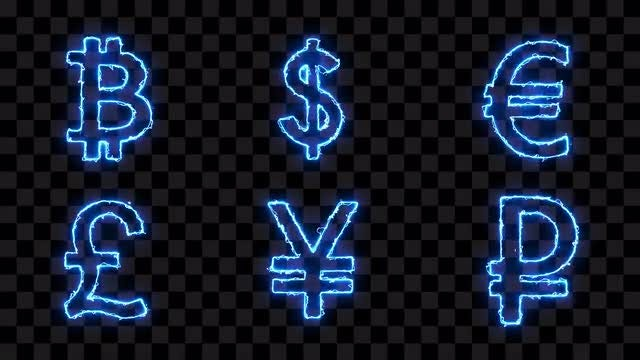 Coins Electric Icons: Stock Motion Graphics