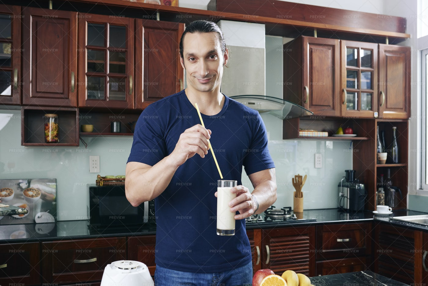 Cheerful Man With Milk Cocktail: Stock Photos