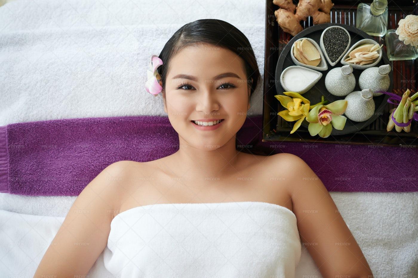 Asian Woman Relaxing In Beauty...: Stock Photos