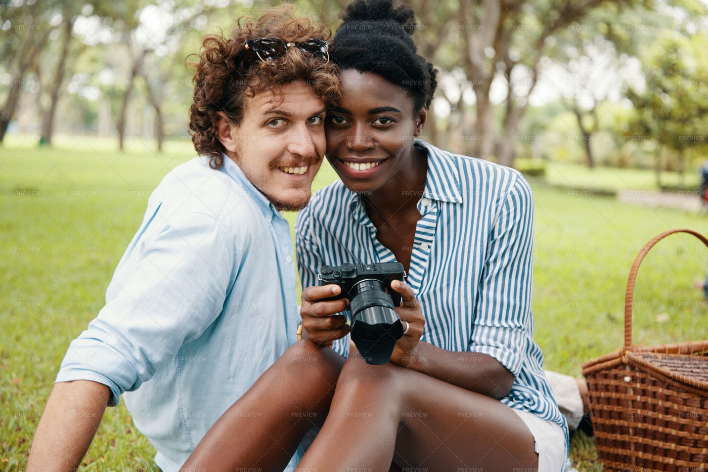 Happy Couple Having Picnic: Stock Photos