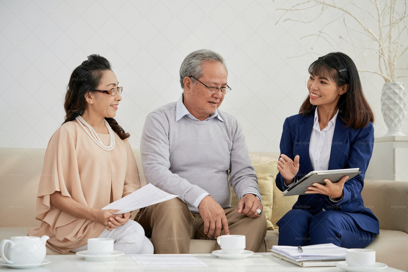 Retired Couple Meeting With...: Stock Photos
