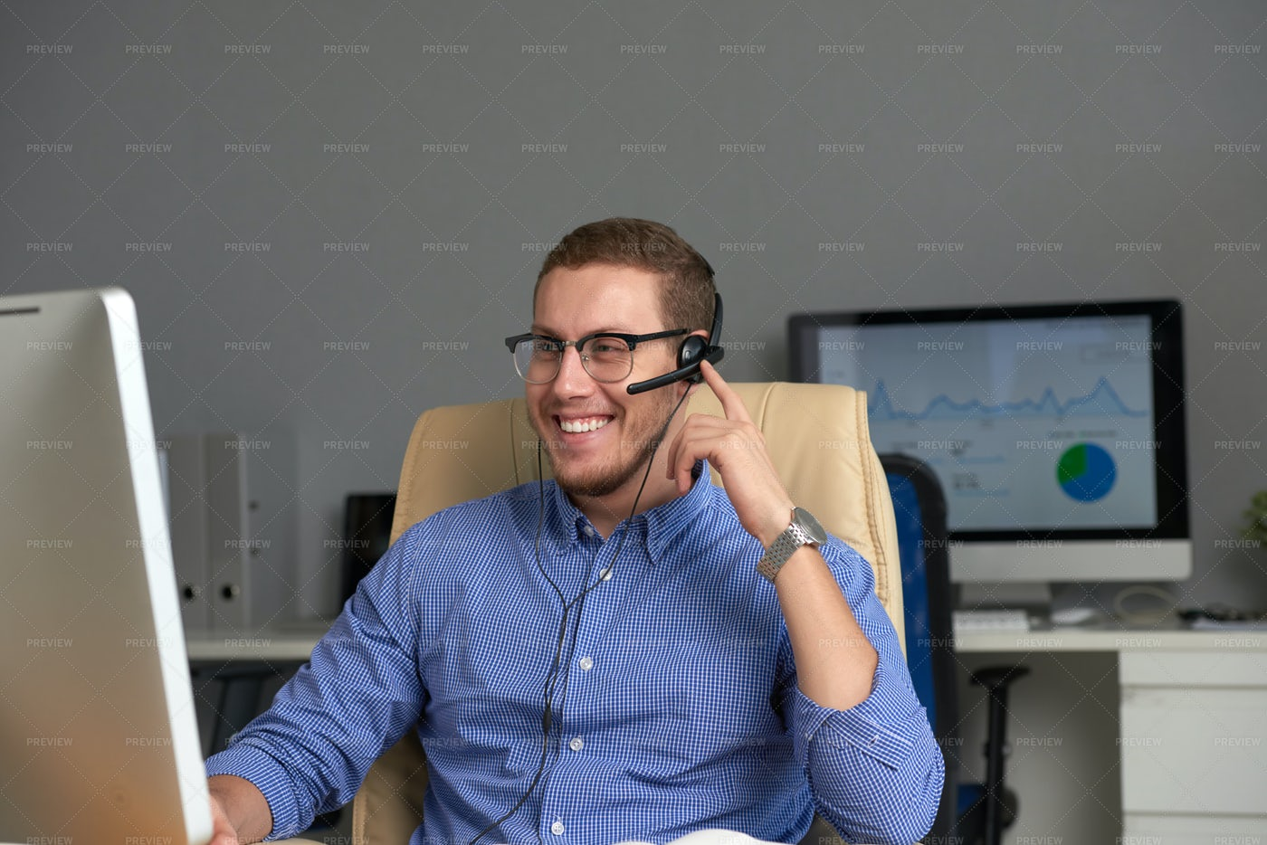 Happy Businessman Working In Office: Stock Photos