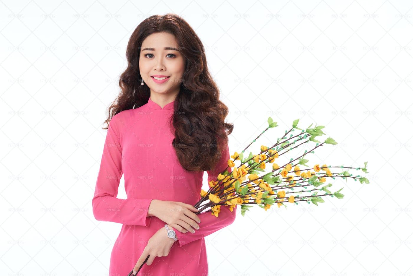 Young Vietnamese Woman Posing For...: Stock Photos