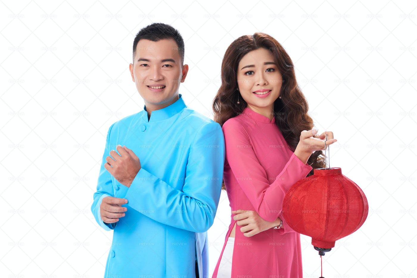 Loving Asian Couple Posing For...: Stock Photos