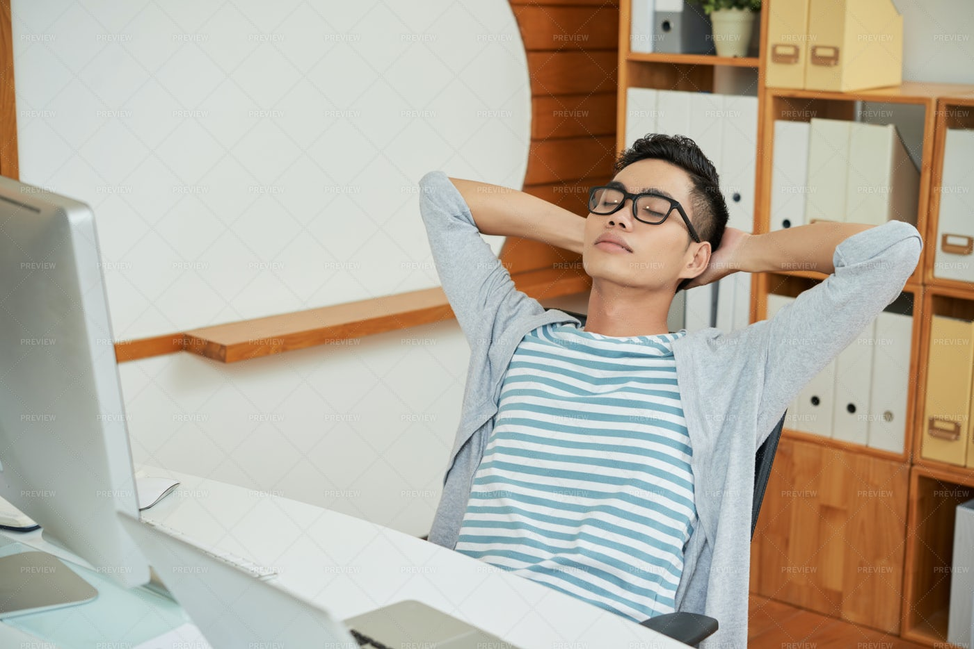 Resting Office Worker In Chair: Stock Photos