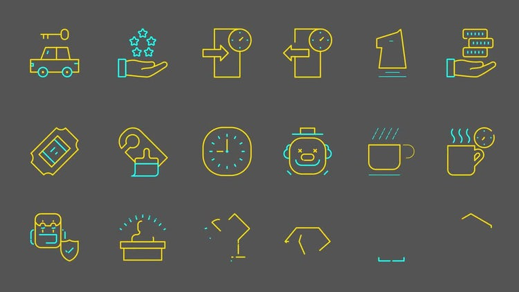 510 Line Icons (Part 3): After Effects Templates