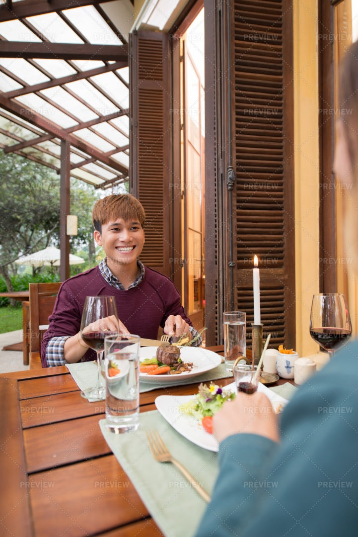 Enjoying Lunch With Girlfriend: Stock Photos