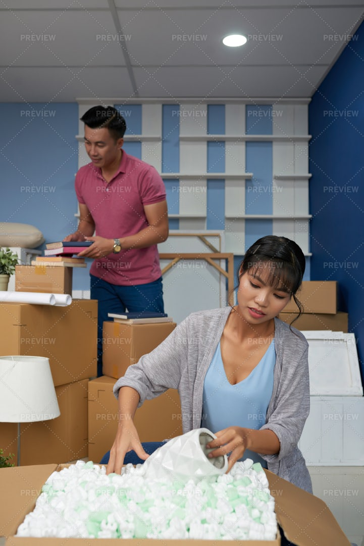 Couple Moving In New Apartment: Stock Photos