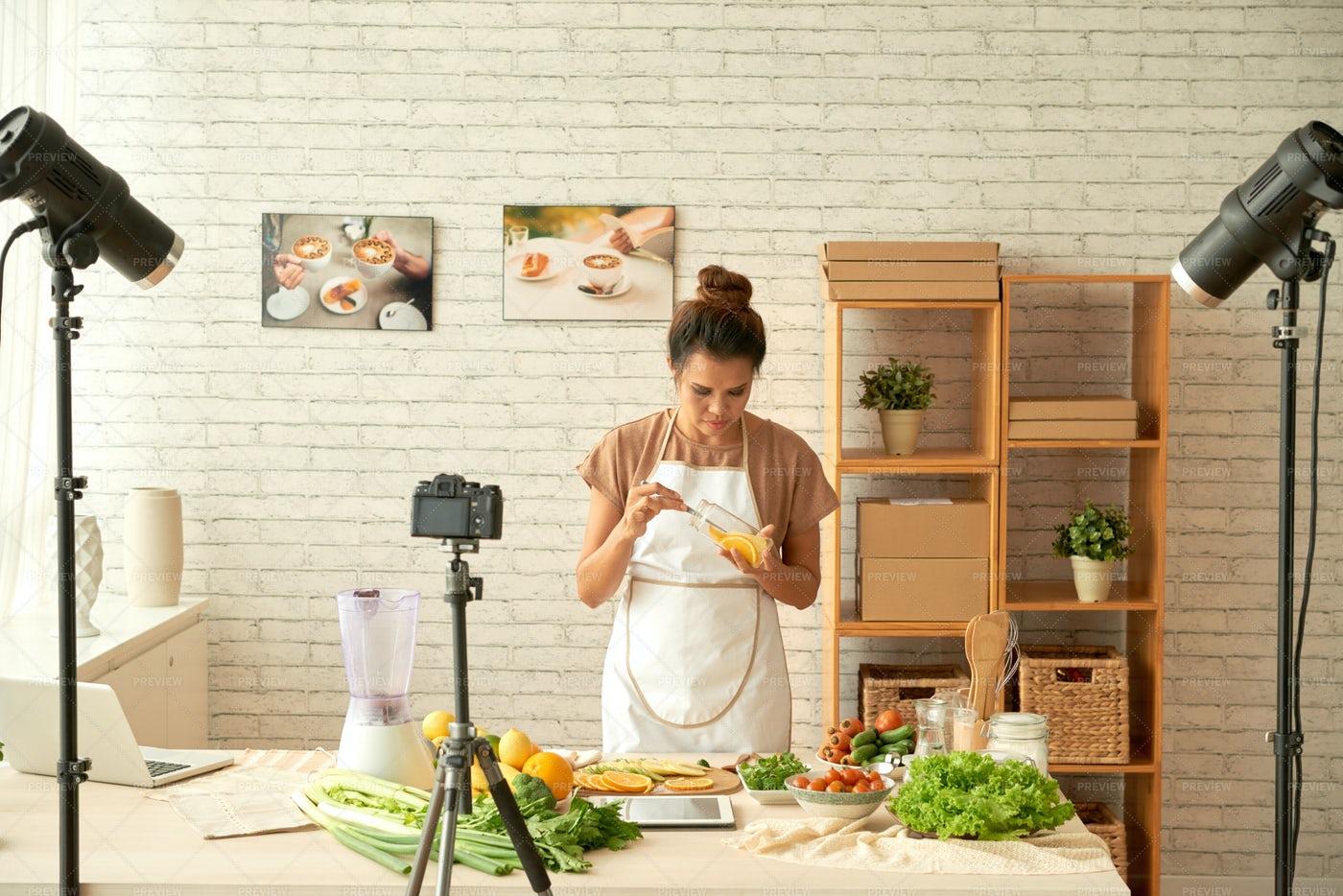 Food Blogger Cooking: Stock Photos