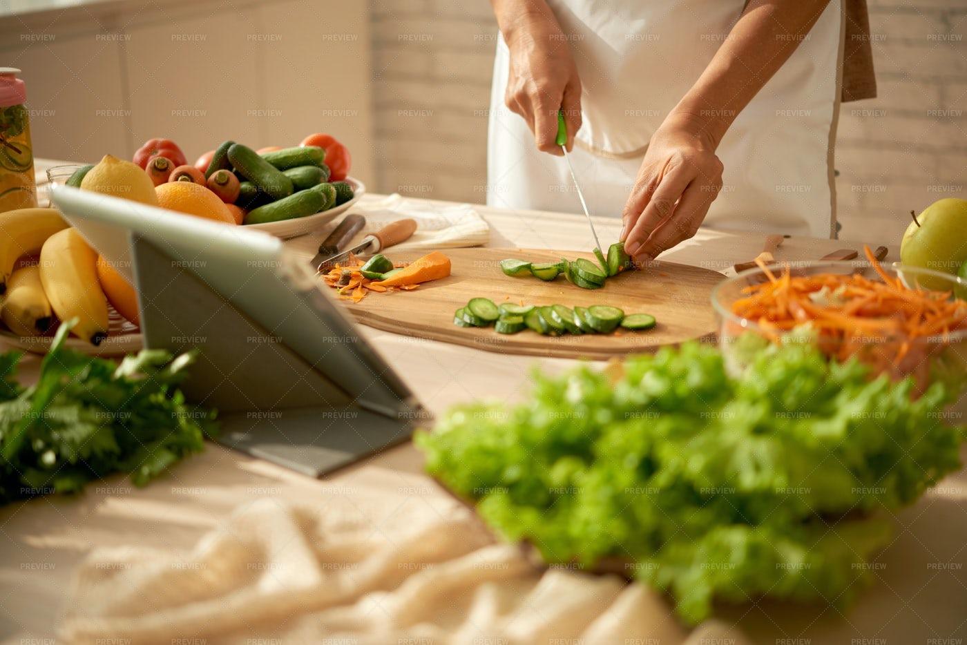 Housewife Cooking Salad: Stock Photos