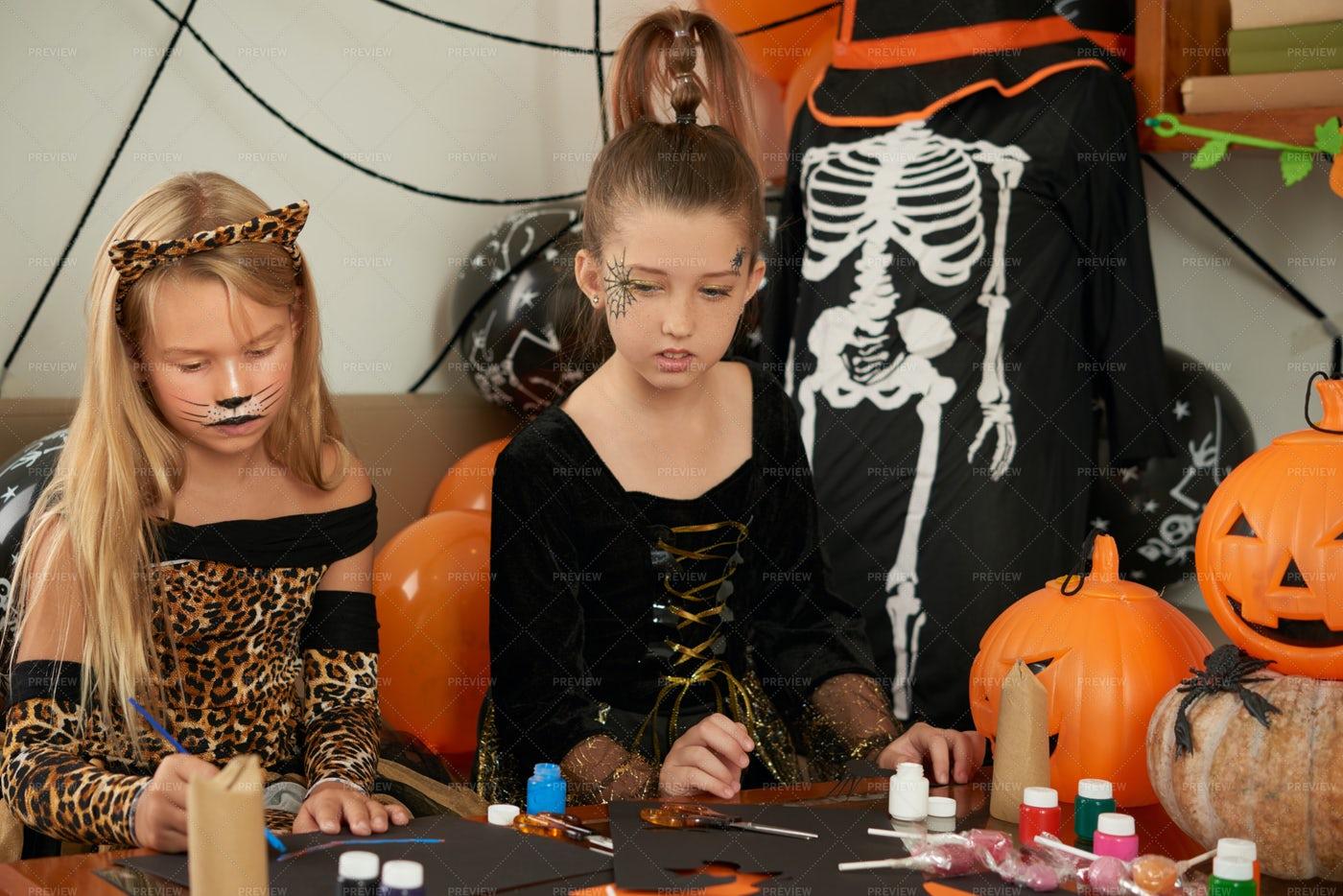 Girlfriends Making Halloween...: Stock Photos