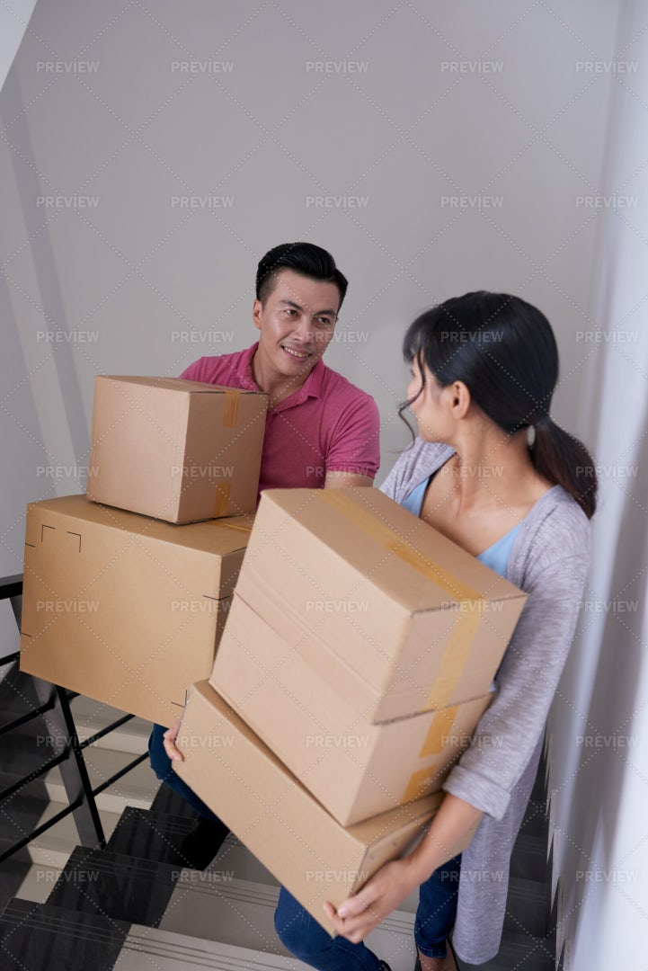 Couple Moving In New Home: Stock Photos